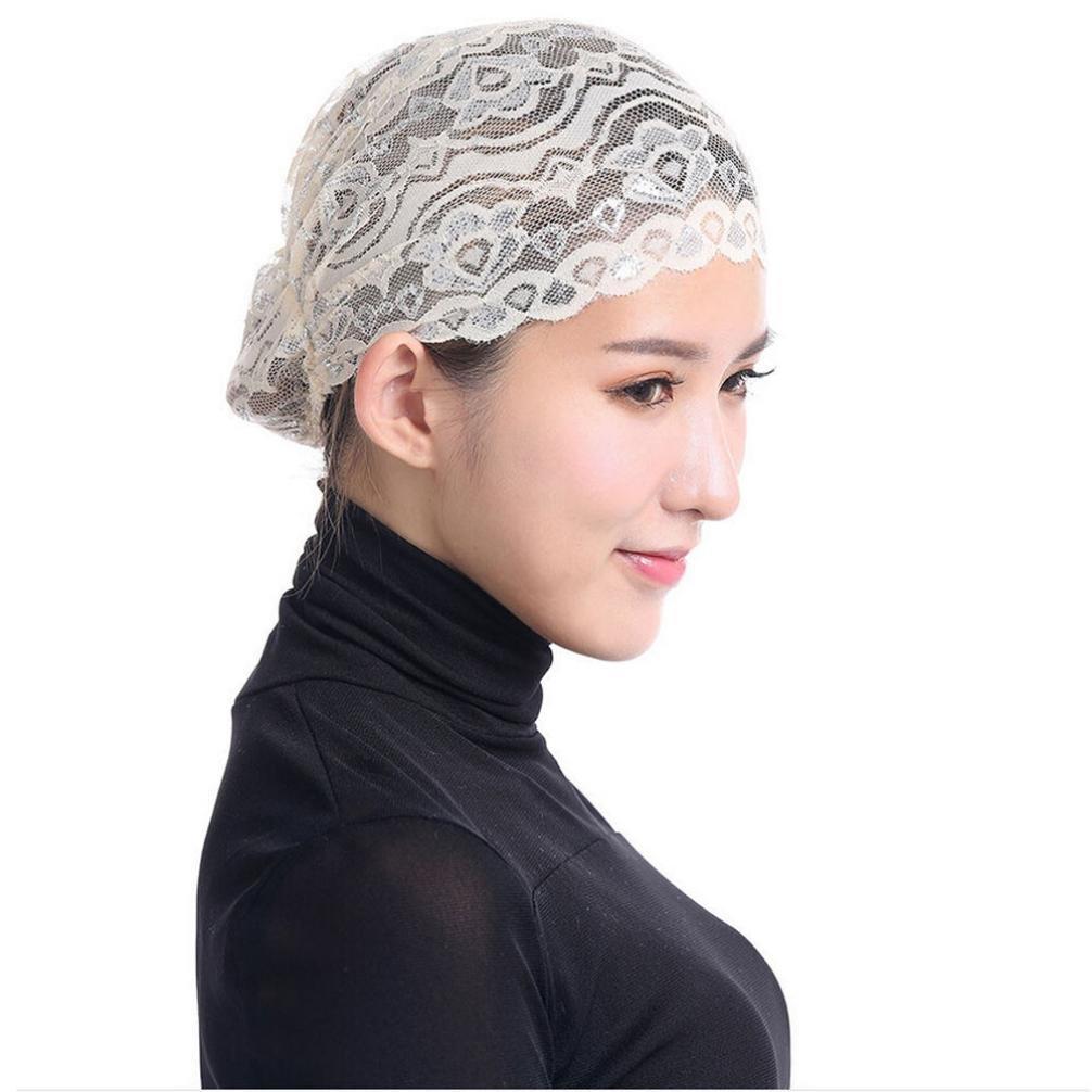 Fabal Women Hijab Hat Lace Ninja Underscarf Head Islamic Cover Bonnet Cap Scarf Muslim (Beige)