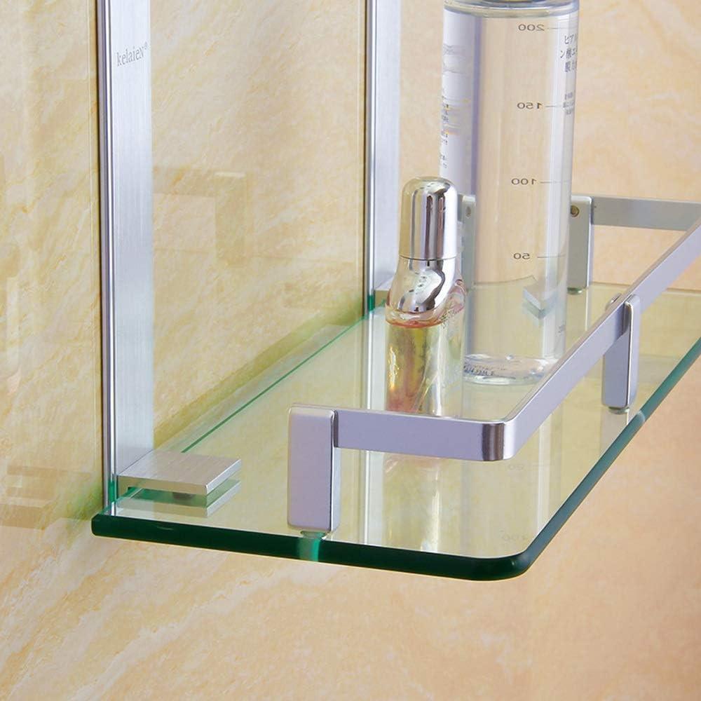 Oanzryybz Ducha de la Capa de Aluminio Plataforma Plataforma de ba/ño cosm/ética de Almacenamiento en Rack Estante de Vidrio Rectangular de Aluminio del Espacio Triple estantes de Vidrio ba/ño ba/ño A
