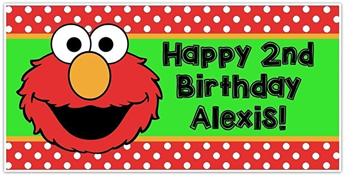 Elmo Sesame Street Birthday Banner Personalized Party Backdrop Decoration