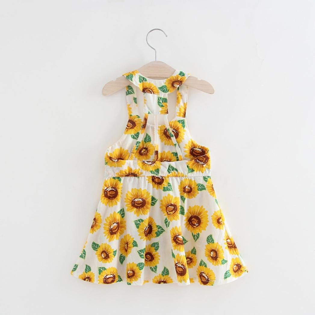 Leegor Little Girls Dresses,Infant Baby Sunflower Print Sleeveless Backless Floral Dress Outfits