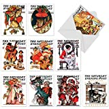 M6037 Christmas Evening Post: 10 Assorted Blank Christmas Note Cards Featuring Iconic, Vintage Covers From Old Issues Of The Saturday Evening Post Magazine, w/White Envelopes.