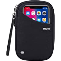 DEFWAY Passport Holder Travel Wallet - Waterproof RFID Blocking Credit Card Organizer Travel Document Bag Ticket Wallet with Strap for Men Women (Small Black)