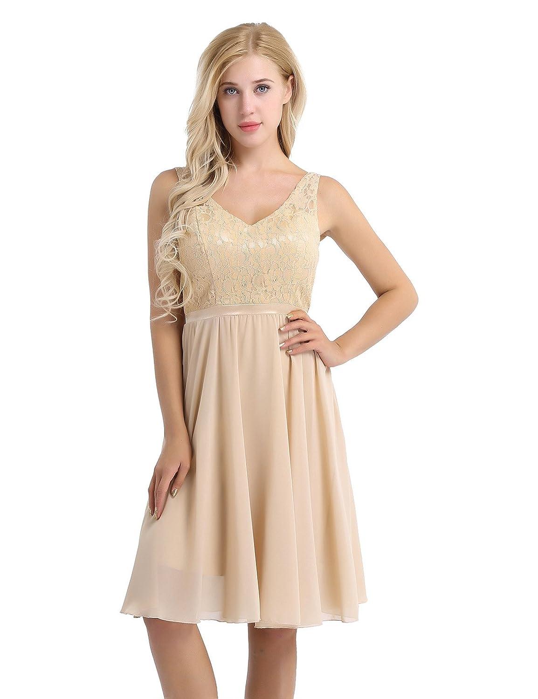 3a7742a984 YiZYiF Women's Lace Chiffon A-Line Prom Formal Wedding Bridesmaid Short  Mini Dress at Amazon Women's Clothing store: