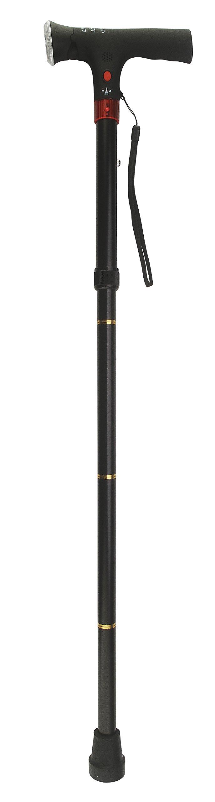 Secure Folding Multifunction Walking Cane with LED Flashlight, Panic Alarm and Alert Light
