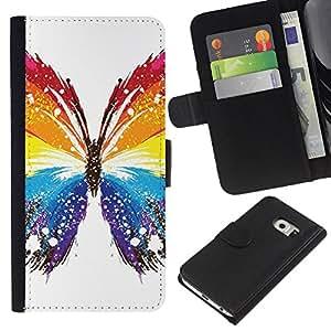 JackGot ( Mariposa Colores ) Samsung Galaxy S6 EDGE (NOT S6) la tarjeta de Crédito Slots PU Funda de cuero Monedero caso cubierta de piel