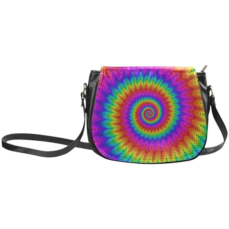ADE Psychedelic Rainbow Spiral Classic Saddle Bag Shoulder Sling Bag S1648