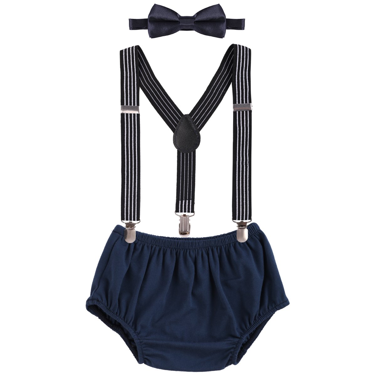 Child Baby Boys Adjustable Elastic Clip Y Back Suspenders Bowtie Outfit First Birthday Cake Smash Bloomers Clothes set by IWEMEK