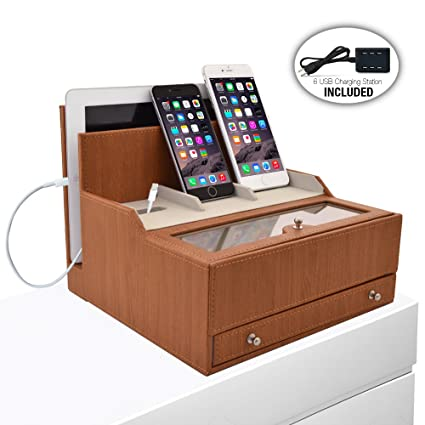 478f335fb548 Amazon.com  iCozy Charging Valet  Office   Desk Organizer   Electronics  Caddy Faux Leather Station Beige  Cell Phones   Accessories