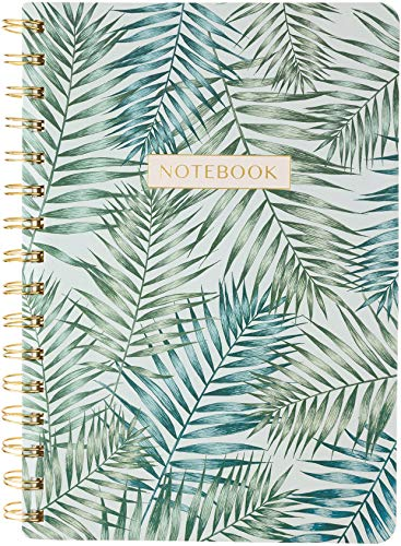Eccolo 6x8 Wirebound Notebook, Flexible Faux Leather Covers, 192 Cream Lined Pages, Palms