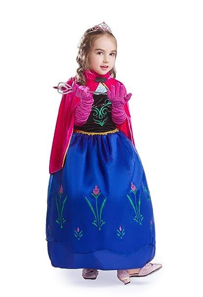 ELSA & ANNA® Princesa Parte Disfraz Traje Set Las Niñas Vestido Set de Fiesta Vestido Paquete de Navidad - Incluso Vestido Guantes Corona Varita - ...