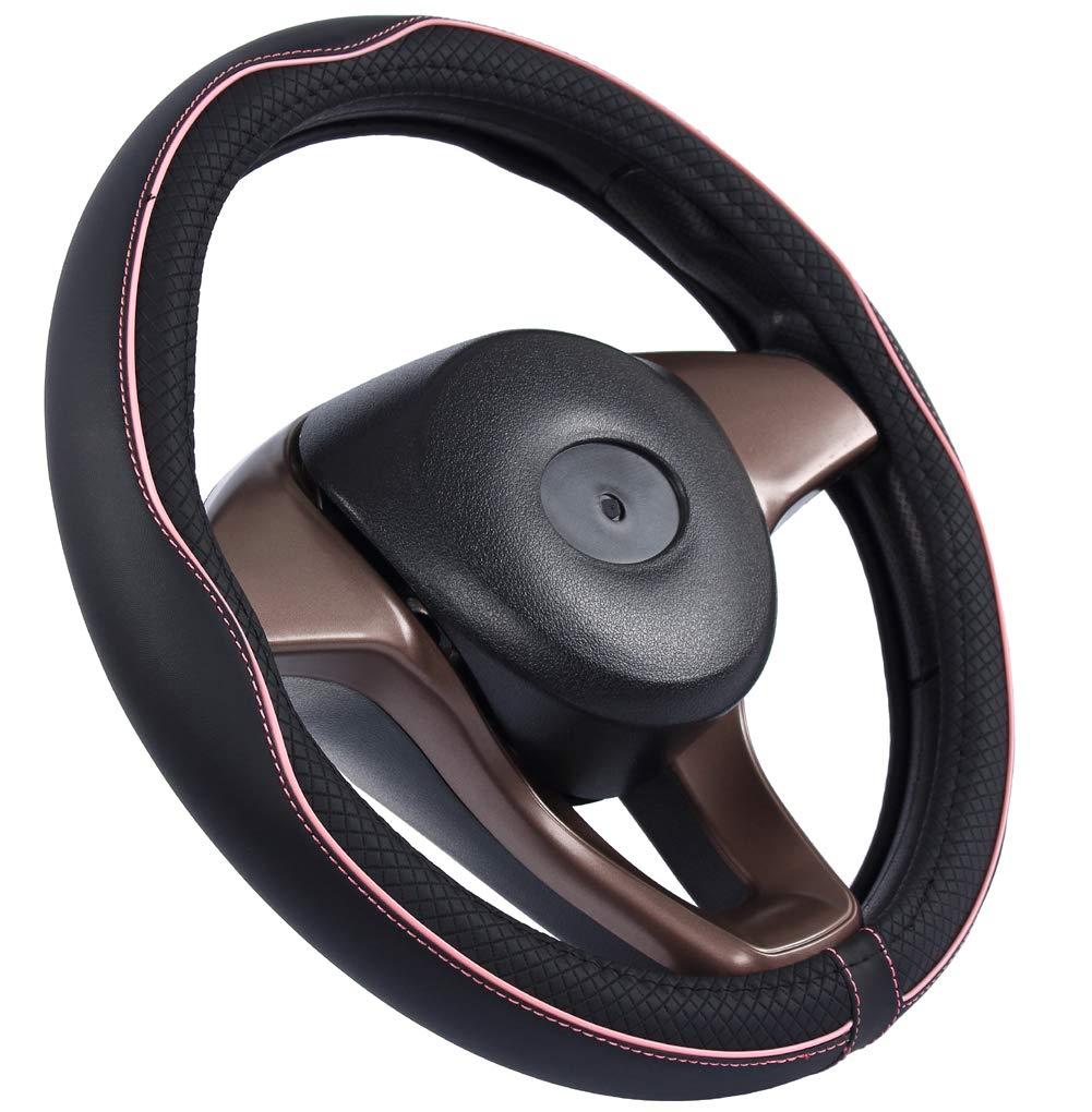 Istn Mikrofaser Leder Auto Lenkradbezug 38cm f/ür die meisten Autos Black Pink