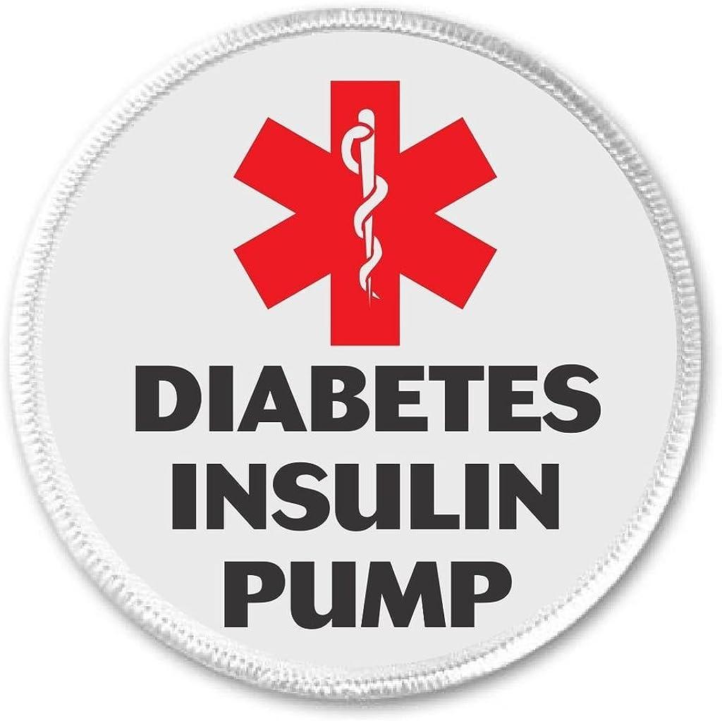 Medical Alert DIABETES INSULIN PUMP 3 Sew On Patch Diabetic Health Symbol Sign