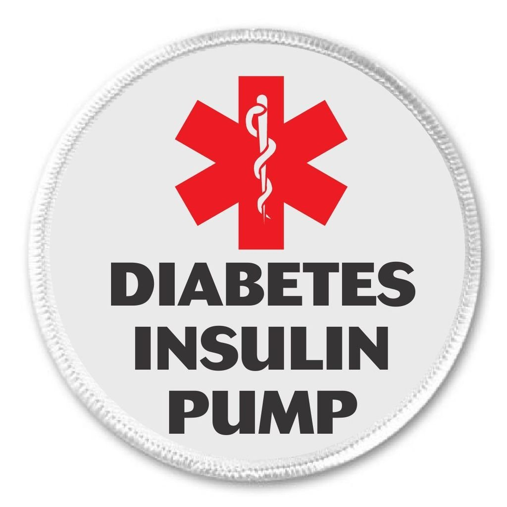 Medical Alert DIABETES INSULIN PUMP 3 Sew On Patch Diabetic Health Symbol Sign
