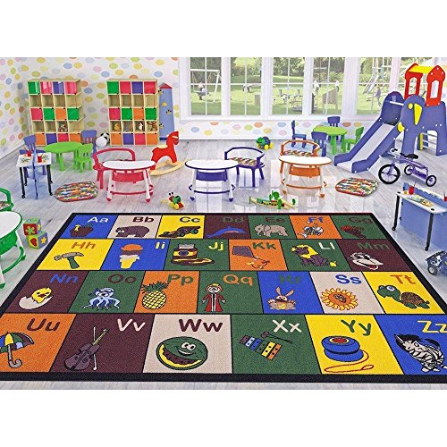 Ottomanson Jenny Collection Childrens Multi Color Educational Alphabet (Non-Slip) Kids Classroom Area Rugs, 50 X 66, Multicolor