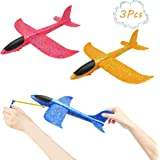 DC-BEAUTIFUL 3 Pack Airplane Toys, Slingshot Plane 2 Flight Modes, Throwing Foam Airplanes with Slingshot Launch, Outdoor Sport Toy Party Favor Birthday Gift for Kids