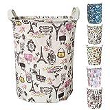 Merdes 19.7'' Waterproof Foldable Laundry Hamper, Dirty Clothes Laundry Basket, Linen Bin Storage Organizer for Toy Collection (Paris)