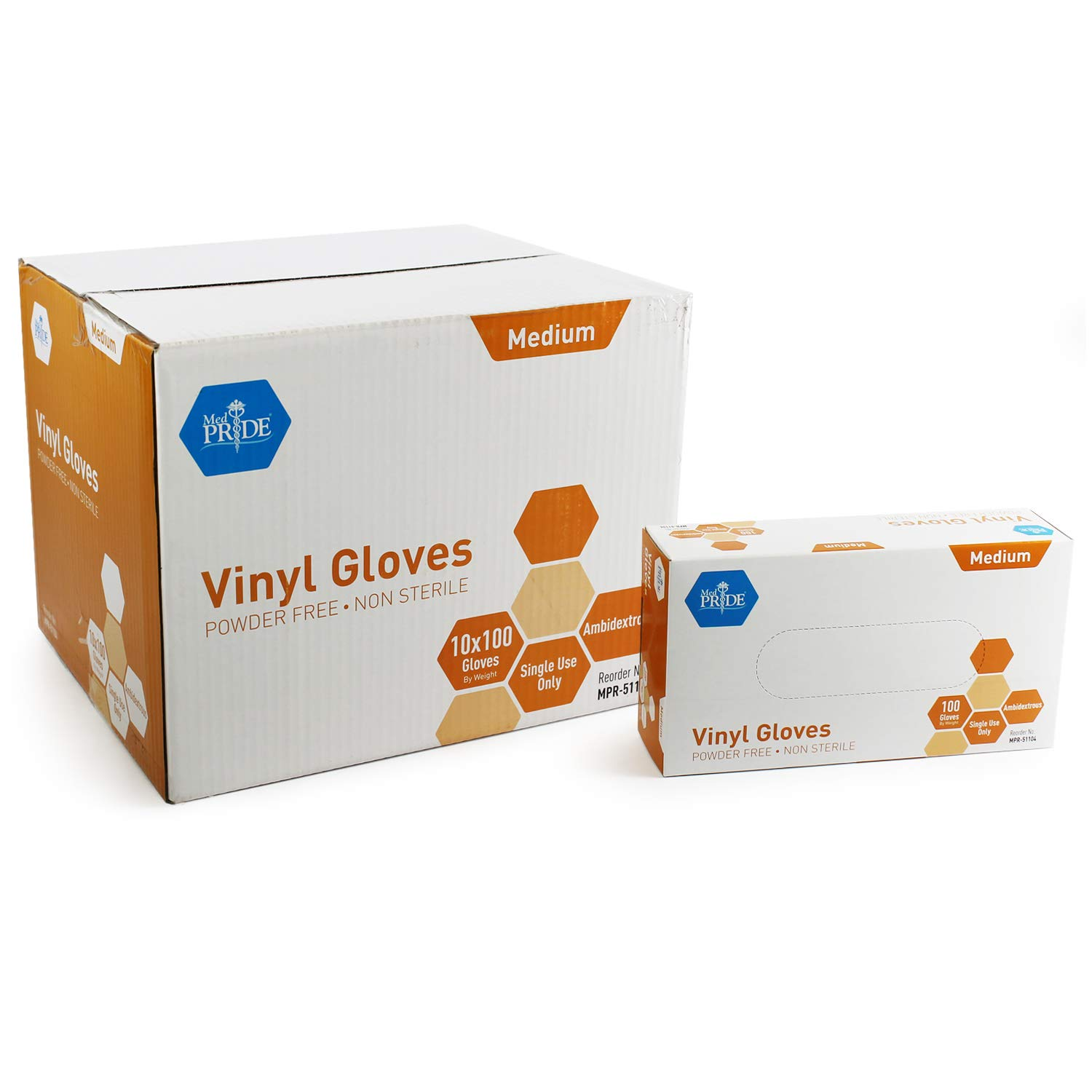 Medpride Vinyl Gloves| Medium Case of 1000| 4.3 mil Thick, Powder-Free, Non-Sterile, Heavy Duty Disposable Gloves| Professional Grade for Healthcare, Medical, Food Handling, and More