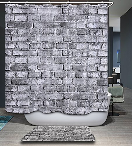 Amazon HMWR Mildew Resistant Shower Curtain Vintage Grey Brick Wall Waterproof Polyester Fabric Bathroom Deco 72 X Home Kitchen