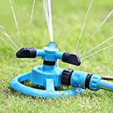 JOMIGLI Automatic 360 Degree Rotary Water Sprinklers Three Arm Water Sprayer for Lawn and Garden