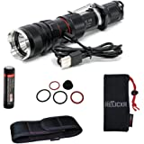 ZeroHour  Relic XR Compact Tactical Flashlight with Integrated USB Battery Backup Powerbank, 1,000 Lumen CREE XP-L LED, Rechargeable 3400mAh battery