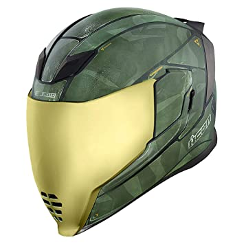 Casco con visera Airflite Battlescar 2 de Icon, color verde
