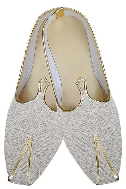 INMONARCH Mens Elegant Mojari Indian Wedding Shoes MJ152 10M Off White