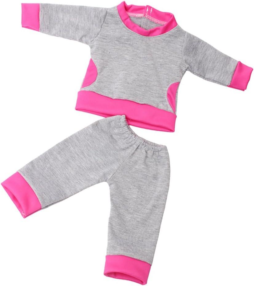 Toygogo Ropa De Muñeca Popular Conjunto De Vestir Casual Tops Conjunto De Pantalones A Juego para Muñeca Estadounidense De 18 Pulgadas Gris Rosa