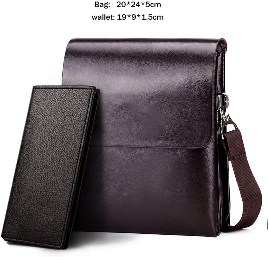 Solid Double Pocket Soft Leather Messenger Bag Small 2 Layer Mens Travel Bag for Phone,Medium Brown