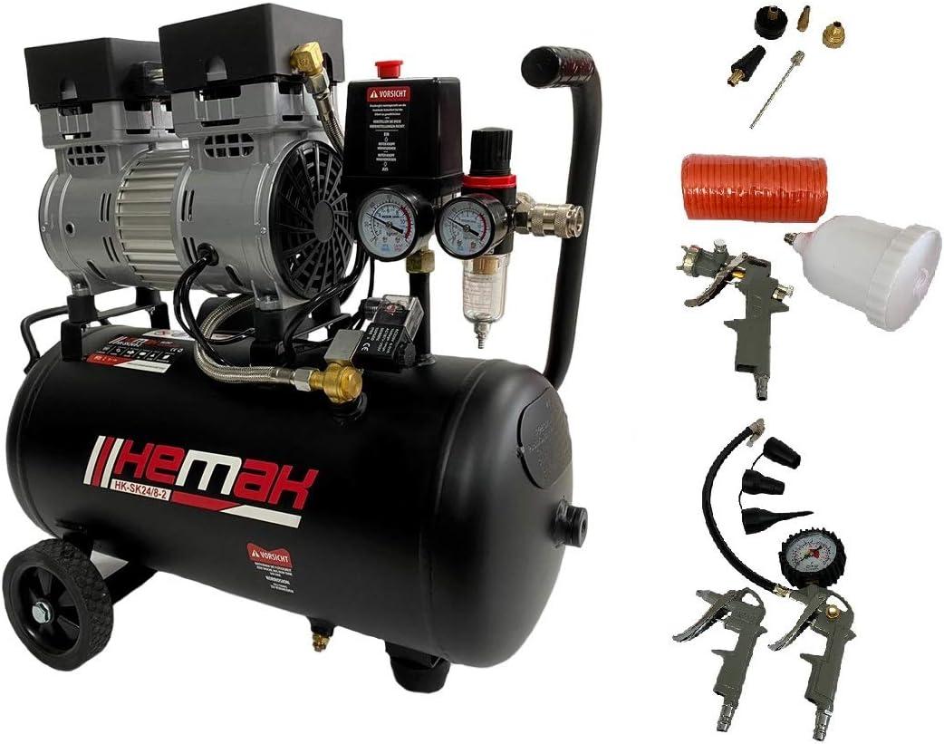Hemak Hk Sk24 8 Silent Kompressor Inkl Druckluft Set 8 Bar 24l 750w Zubehör 2 Zylinder 165 L Min Baumarkt