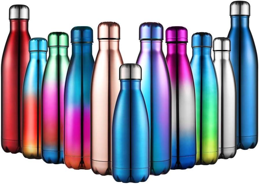 Anjoo Botella de Agua 500 ML, Deportes al Aire Libre Botella Agua Acero Inoxidable con Doble Pared Aislada al Vacío Botella, Aluminio Botella térmica para Bebidas frías y Calientes (Vistoso1)