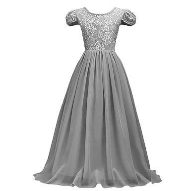 OBEEII Mädchen Chiffon Spitze Splicing Langes Kleid Blumenmädchenkleider  Hochzeitskleid Maxikleid Brautjungfern Kleid Prinzessin Hochzeit Abendkleid  ... c662c38026
