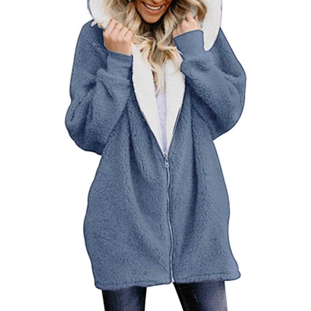 aihihe Plus Size Winter Coats for Women Warm Shaggy Lining Solid Oversized Fluffy Hooded Coats Jackets Outerwear Parka Dark Blue by aihihe Outerwear