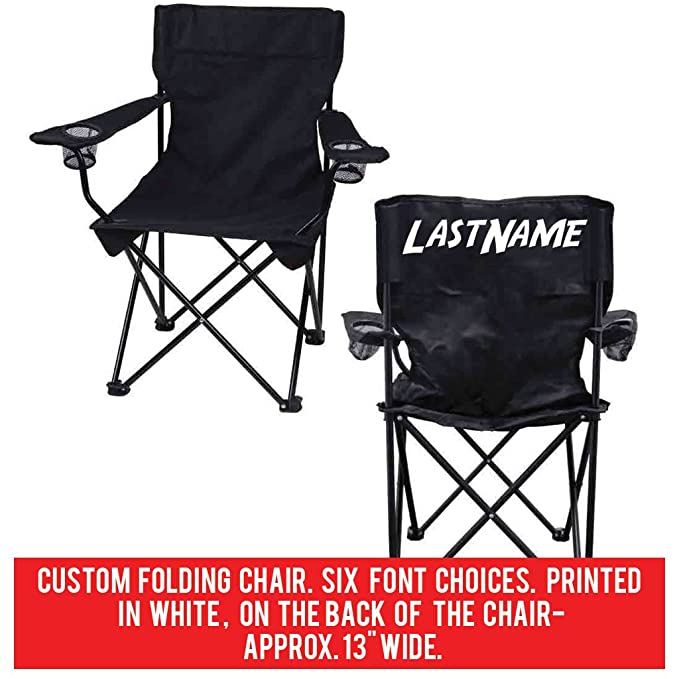 Gentil Amazon.com : VictoryStore Outdoor Camping Chair   Custom Last Name Folding  Chair  Black Camping Chair With Carry Bag : Sports U0026 Outdoors