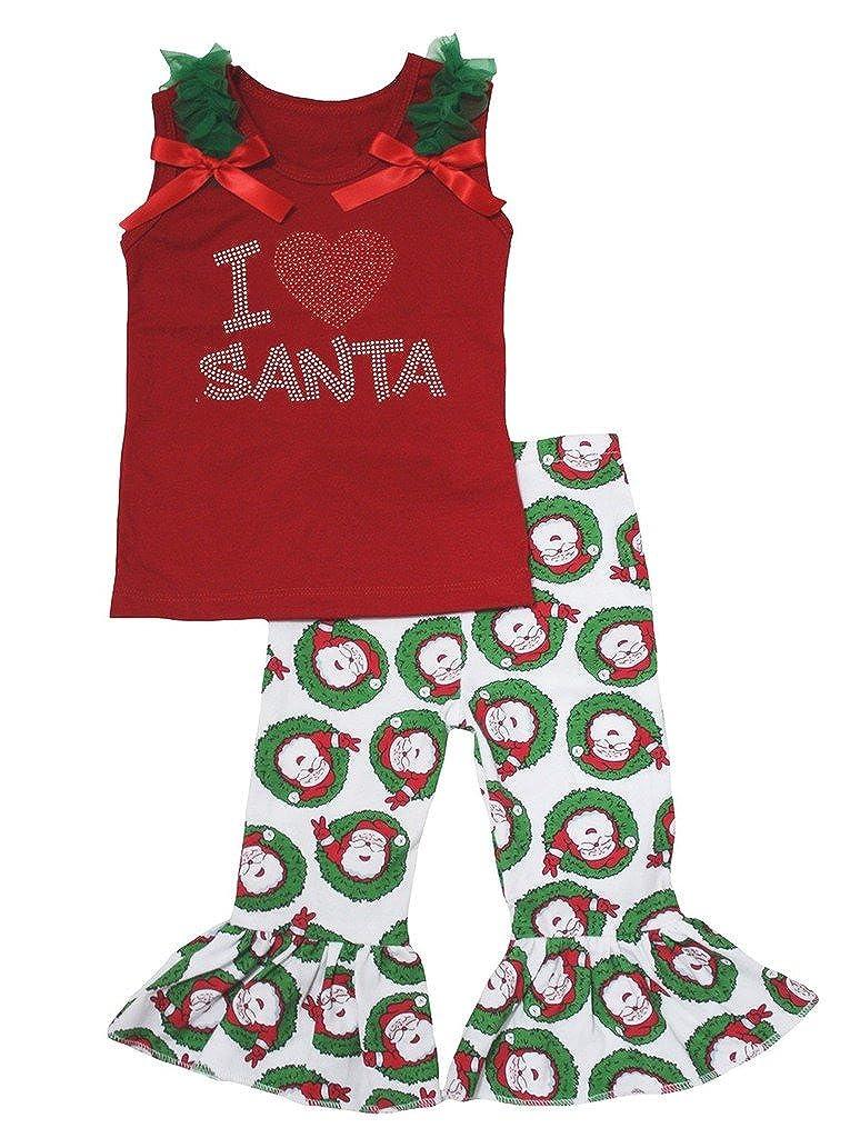 Petitebella I Love Santa Red Cotton Shirt Santa Claus Pant Set for Girl 1-8y