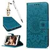 Geniric S7 Edge Case, S7 Edge Leather Cover PU Leather Flip Case TPU Bumper Cover Kickstand Card Slots Holders & Wrist Strap Case for Samsung Galaxy S7 Edge - Blue