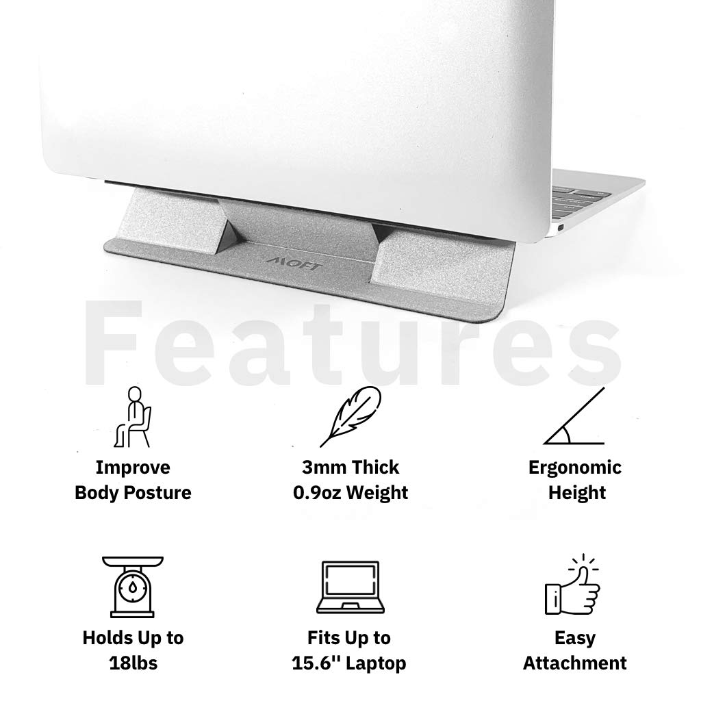 MOFT Anti-Slide Portable Ultra-Light and Foldable Adhesive Stand Pad for Laptop Silver