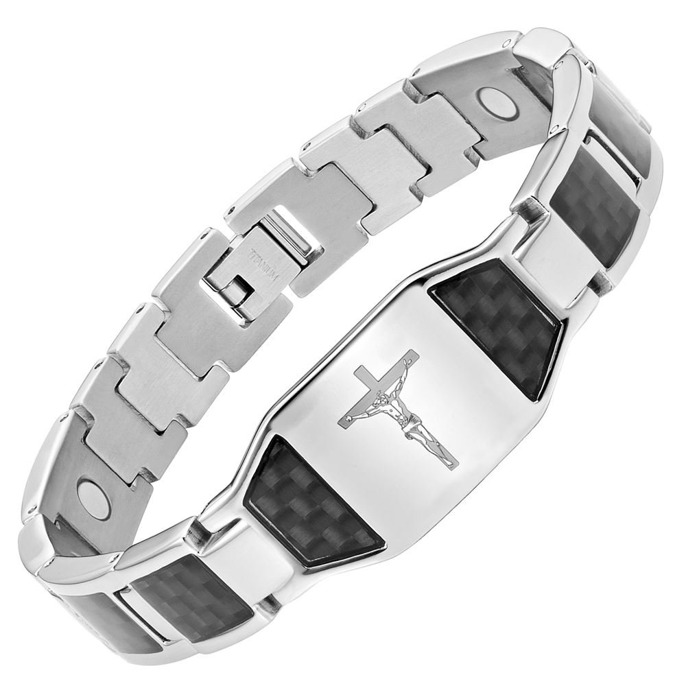 Willis Judd Mens Christian Jesus Crucifix Cross Black Carbon Fiber Titanium Magnetic Bracelet with Free Link Removal Tool and Gift Box TB0200