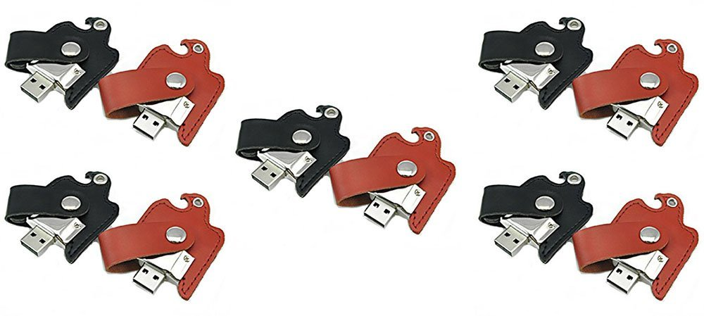 FEBNISCTE 5 Pair Leather Bird USB2.0 Flash Memory Stick Drive 8GB Red and Black