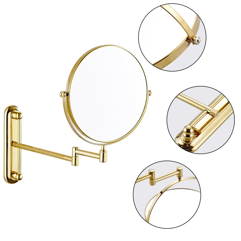 GURUN 10x Magnification Adjustable Round Wall Mount Mirror 8-inch Double Sided Makeup Mirrors,Gold Finish M1806J(8in,10x) by GURUN (Image #6)