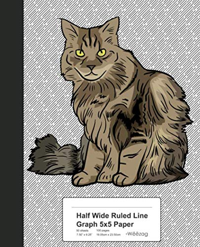 (Half Wide Ruled Line Graph 5x5 Paper: Book Ragamuffin Cat (Weezag Wide Ruled Graph 5x5 Notebook))