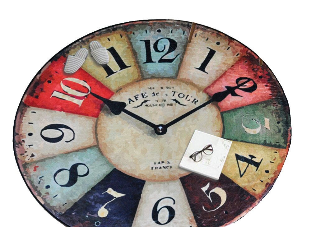 Vintage Wall Clock Round Area Rugs, Decorative Wear-resistant Anti-slip Backing Floor Rug, Soft Living Room Bedroom Home Fluffy Carpet