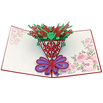 amazon com 3d greeting cards lotus flower folded pop up creative
