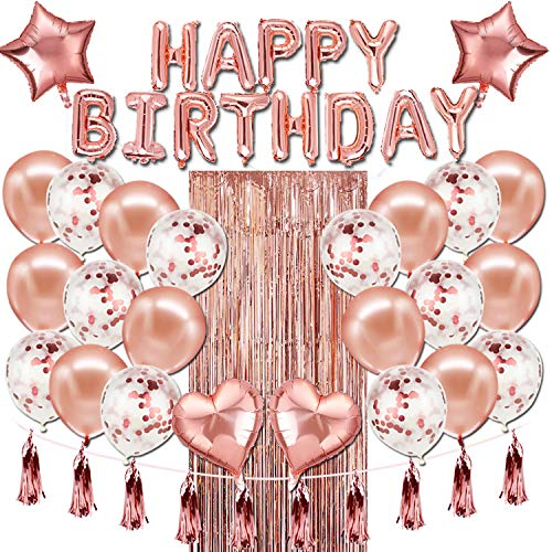 Happy Birthday Balloons Banner,Rose Gold Foil Birthday Decorations with Tassels and Ribbons for All Ages Birthday Party Supplies]()