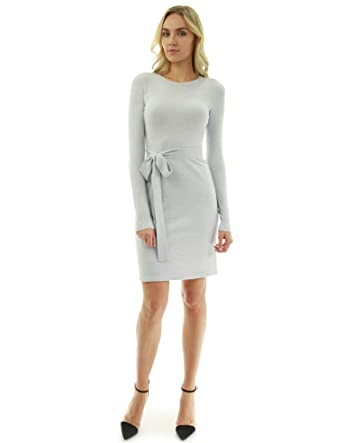 795e440fc0 PattyBoutik Women Crewneck Long Sleeve Tie Sweater Dress (Light Gray  X-Small)