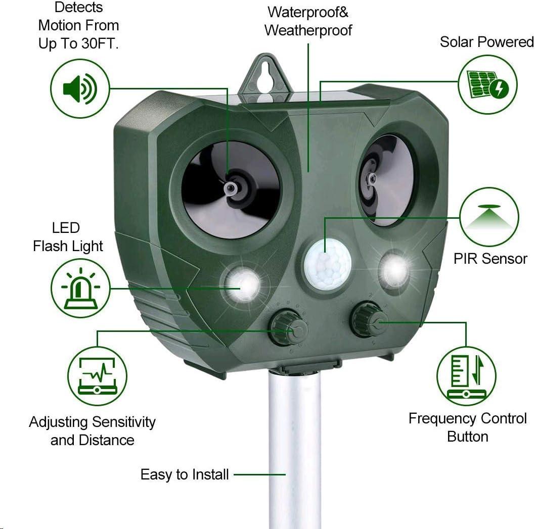R/épulsif Chat Ultrason Solaire Sensibilit/é et Fr/équence R/églable Ultrason Chat pour Repousser Animaux Nuisibles Protecteur de Jardi 2packs AWLGAK R/épulsif Chat Exterieur