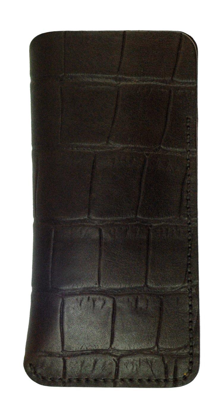 Glasses Sleeve, Brown Crocodile Grain Leather, Handmade