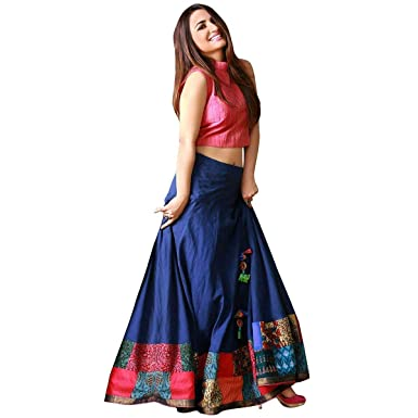17c390f1fd fashionable_village Women's Satin Long Skirt Gown And Top (Yamini_01 _Red &  Blue_ Free Size): Amazon.in: Clothing & Accessories