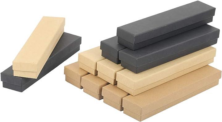 LANMOK 12pcs Juego de Joyería de Cartón Cajas para Joyas Rectángulo Joyero de Papel Kraft Estuche Joyero Pequeño para Organizar de Collares Pendientes Envases de Regalo(21 * 4.5 * 3cm): Amazon.es: Joyería