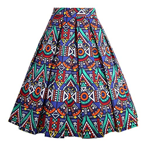 Dressever Women's Vintage A-line Printed Pleated Flared Midi Skirt African-Print Small