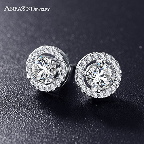 - ANFASNI Hot Sale Romantic Jewelry Stud Earrings For Wedding Elegant Silver Color AAA Cubic Zirconia Stone Earring